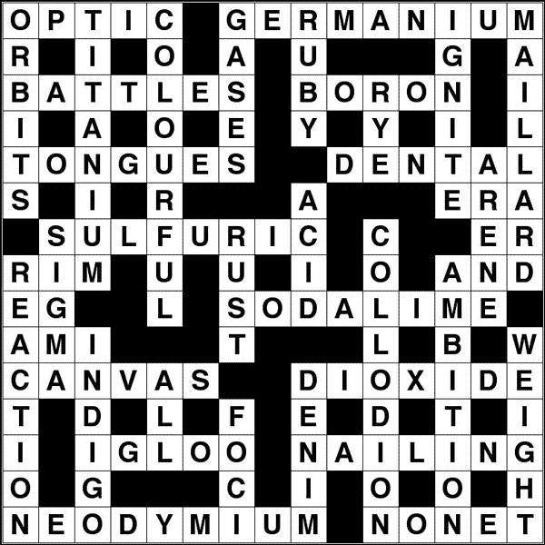 November 2014 crossword solution